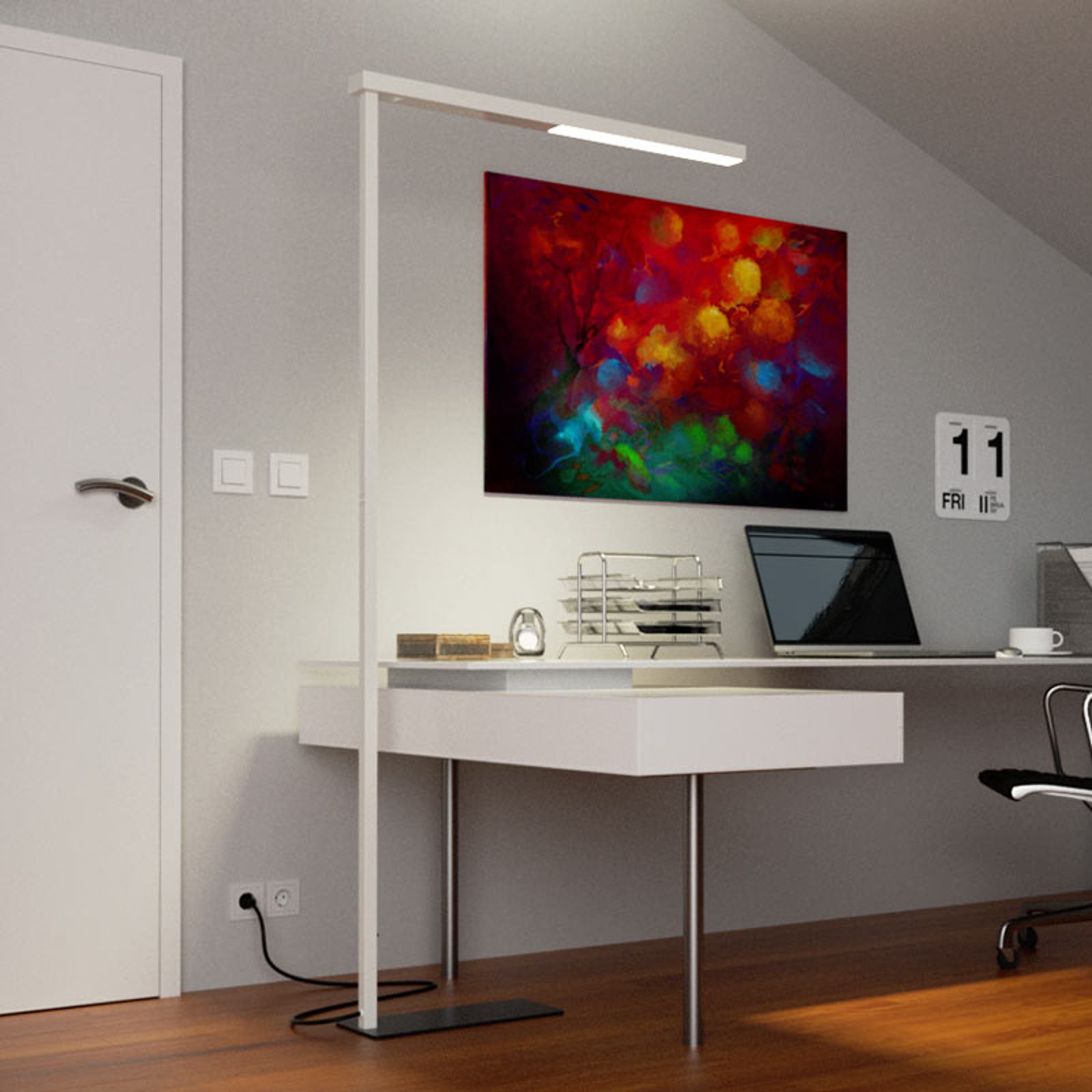 Smukła biurowa lampa stojąca LED Tamilo, biała