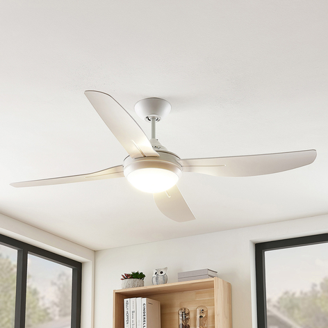 Arcchio Inja LED-loftventilator, 4 vinger, hvid