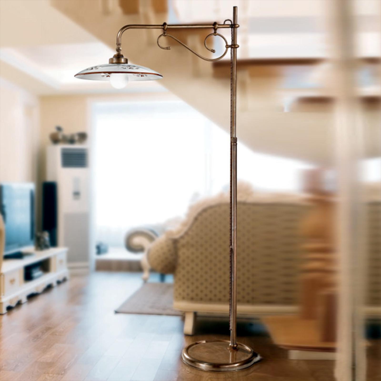 Lámpara de pie Bassano con brazo, marrón