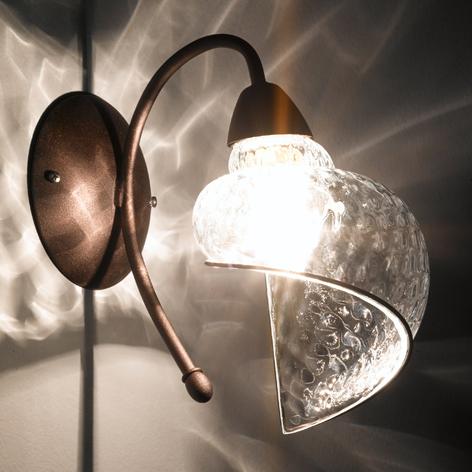 Wandlamp Chiocciola brons, glas helder