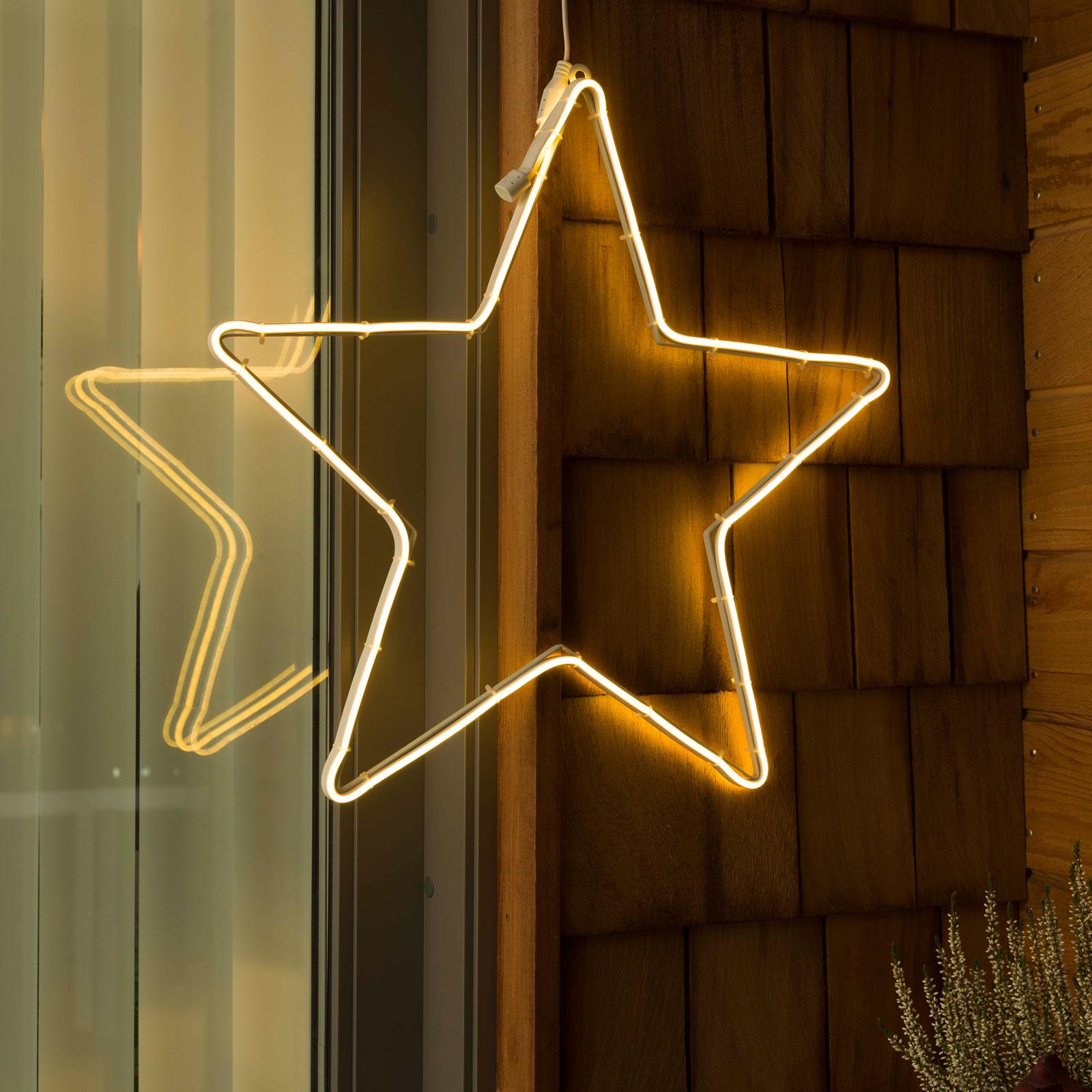 LED-fönsterbild slangsilhuett stjärna, utomhus