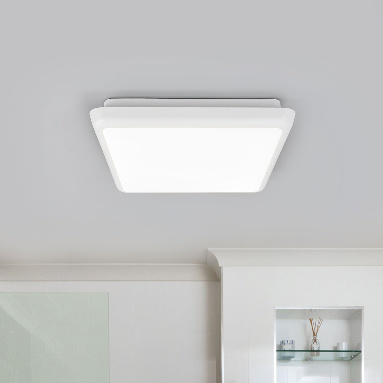 Kwadratowa lampa sufitowa LED Augustin, 25 cm