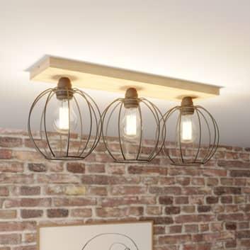 Plafondlamp Dorett, eikenhout, 3-lamps