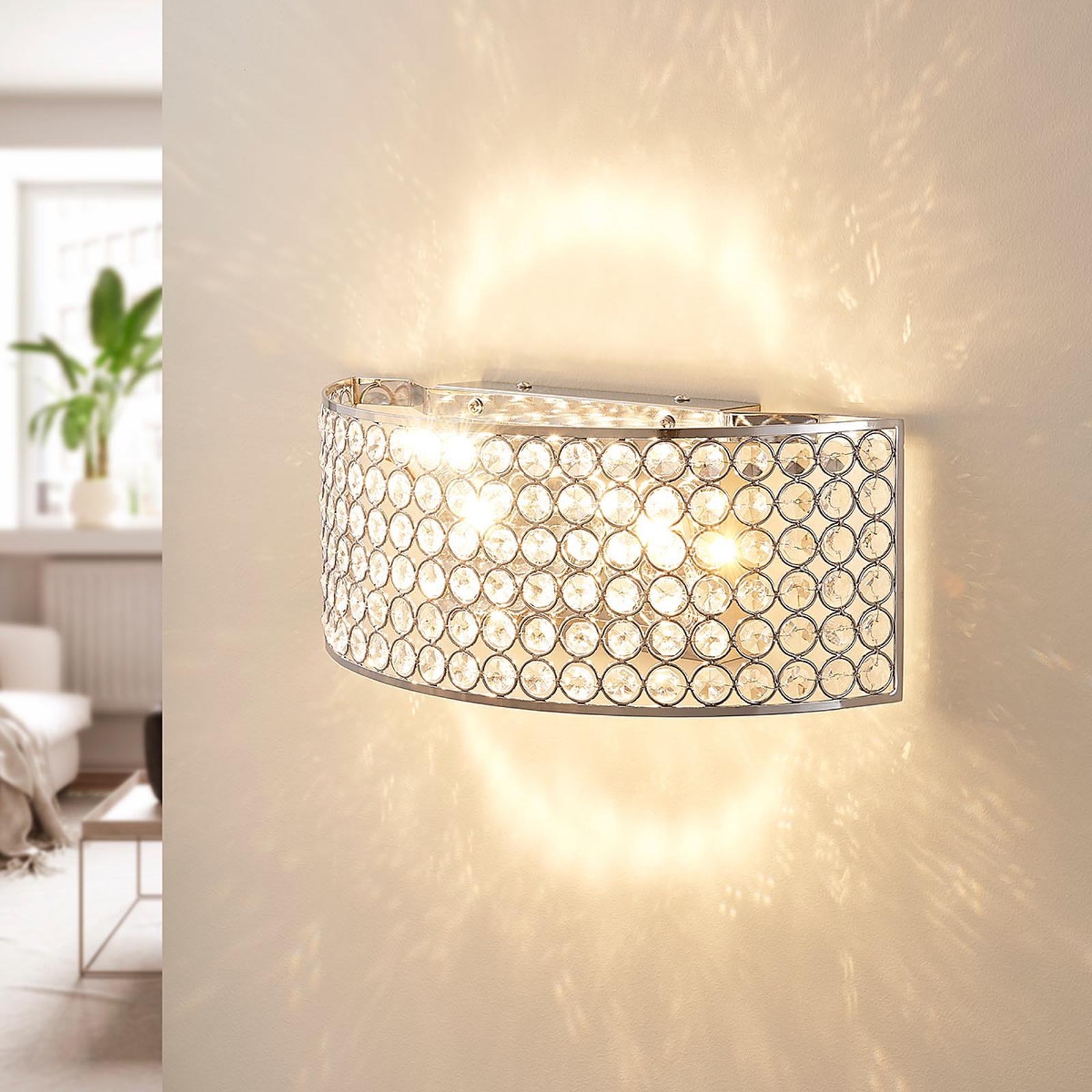 LED-vegglampe i krystall Alizee i krom