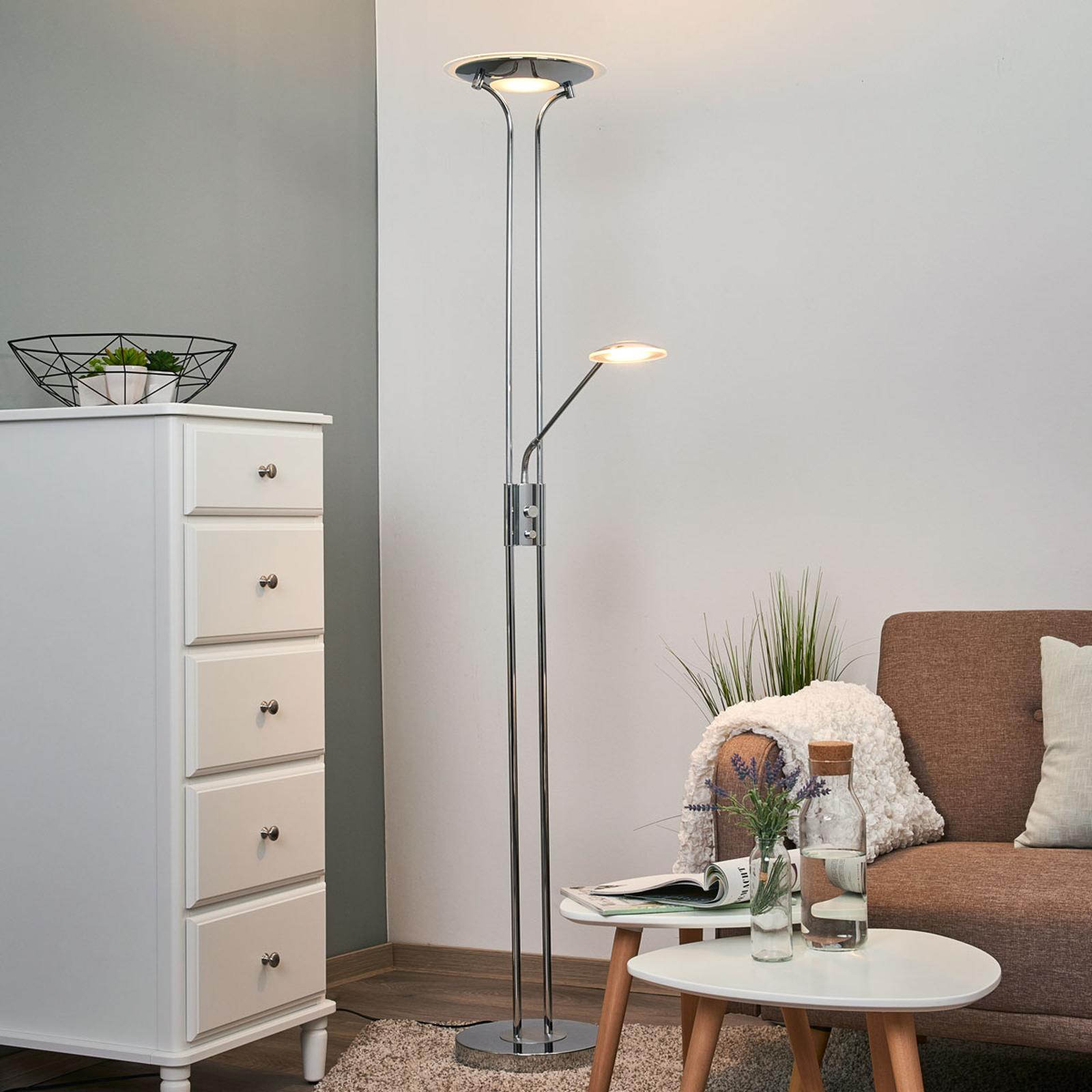 Aras – LED-golvlampa med läslampa, förkromad