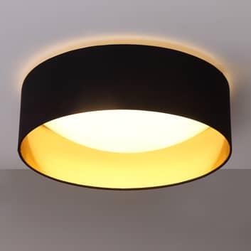 Coleen - lampada da soffitto in tessuto nero e oro