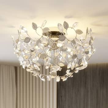 Bjarne – lampa sufitowa, liście z kryształkami