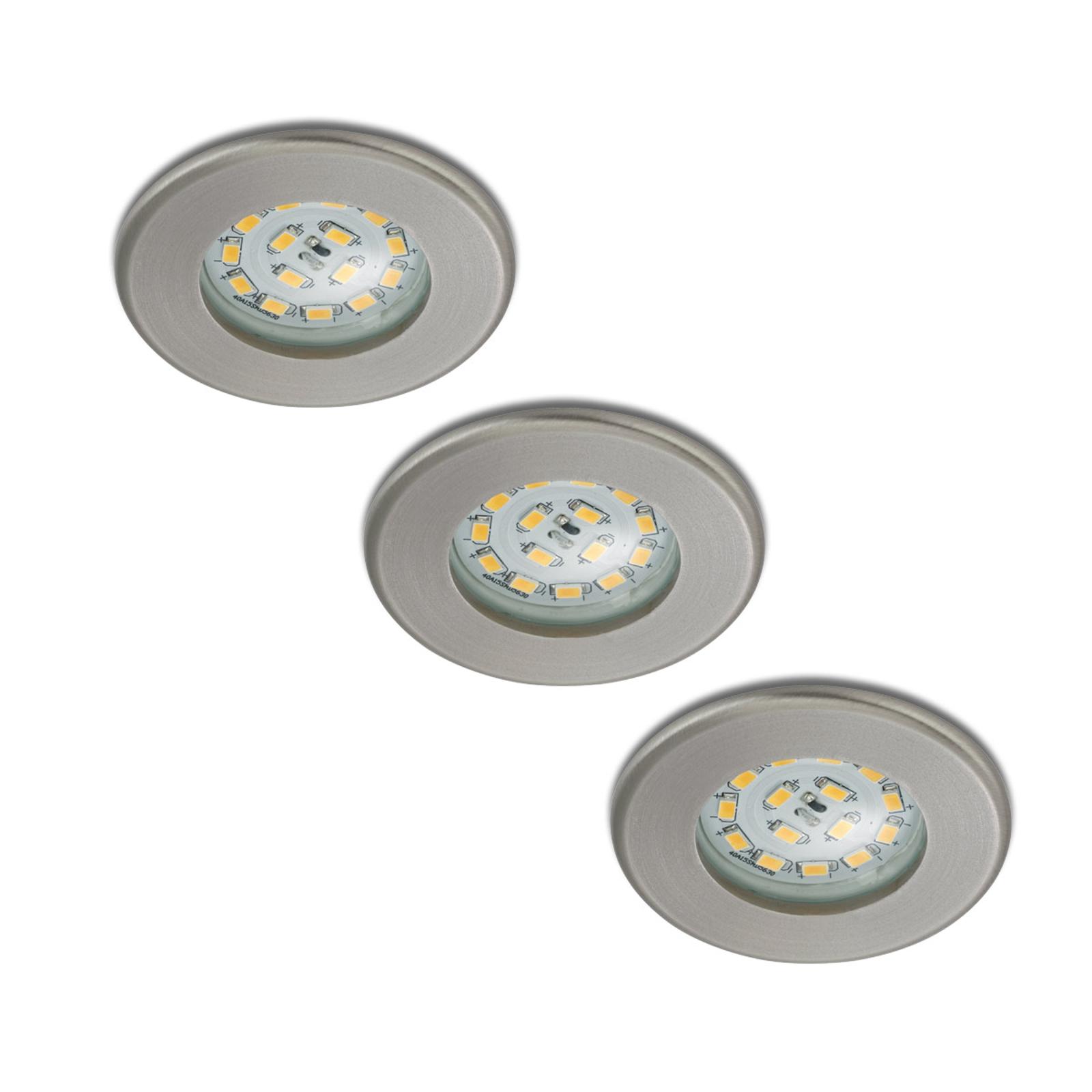 Tres focos empotrables LED Nikas, IP44, níquel