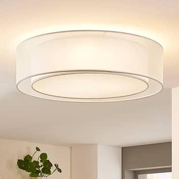 Textilní stropní lampa Amon, stmívatelná, bílá