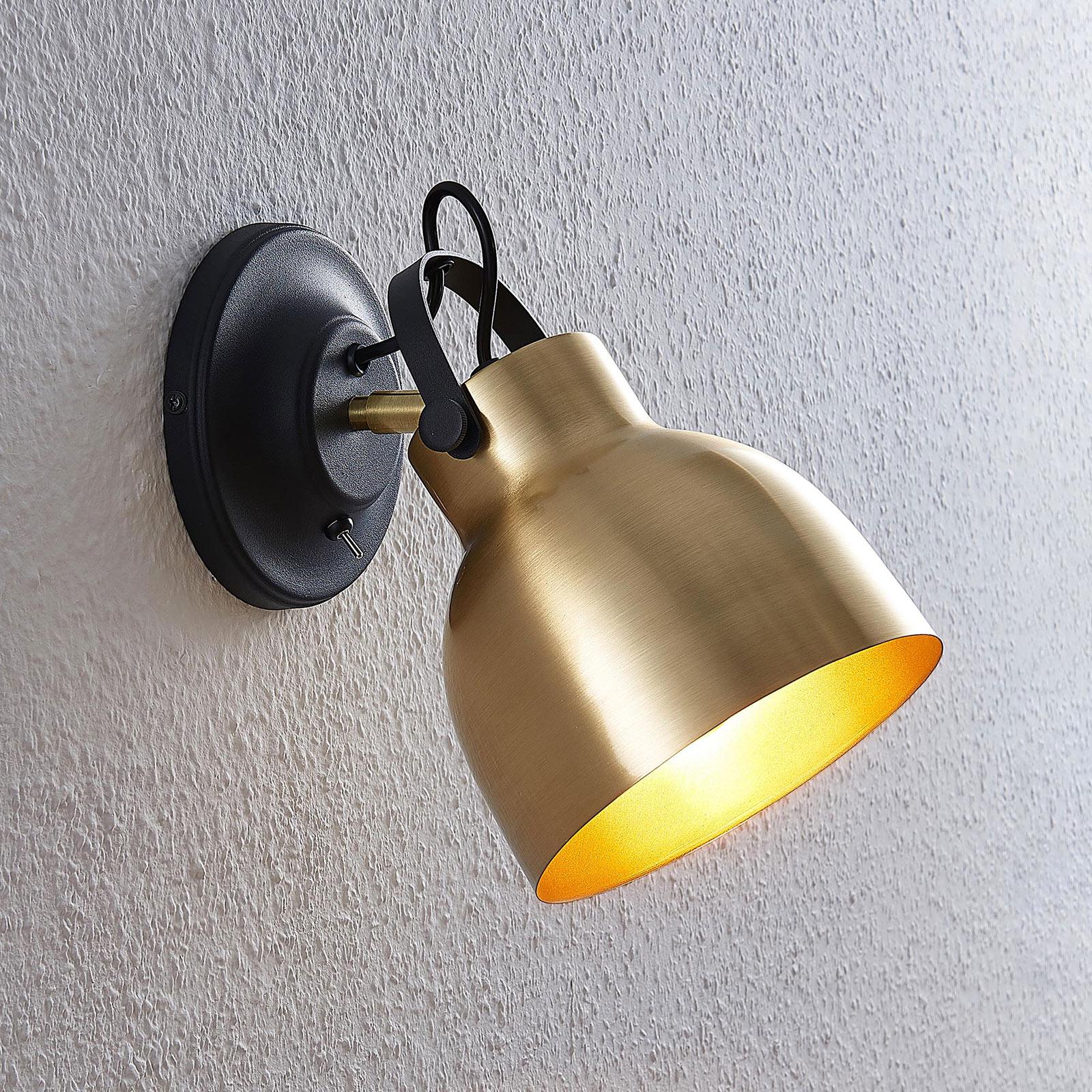 Lindby Milana wandlamp, mat messing