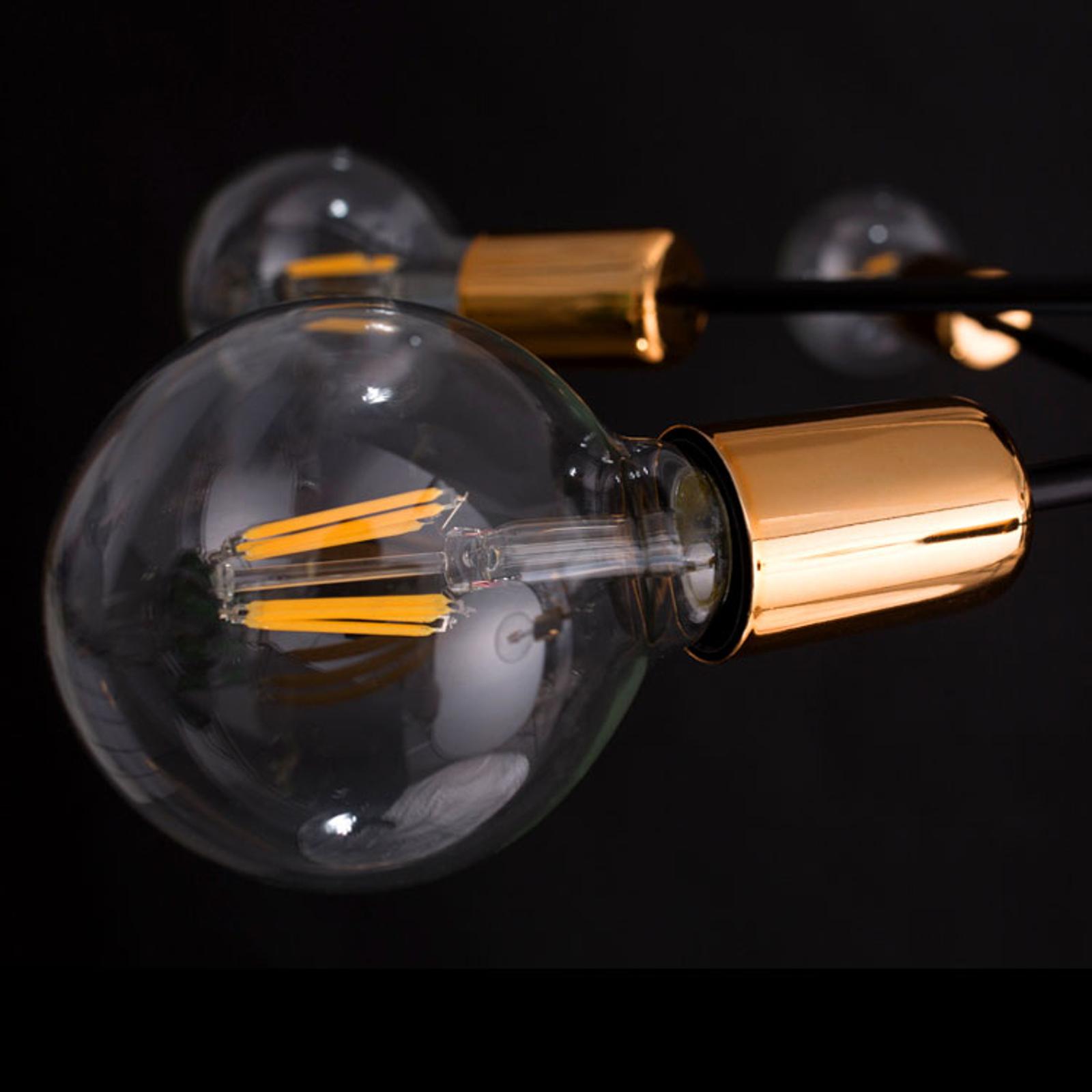 Lampa wisząca Bravo 6-pkt. miedziane detale czarna