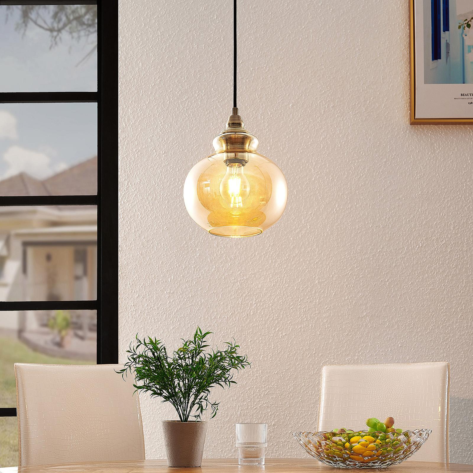 Lindby Tymoni glas-pendellampa, bärnsten, 1 lampa