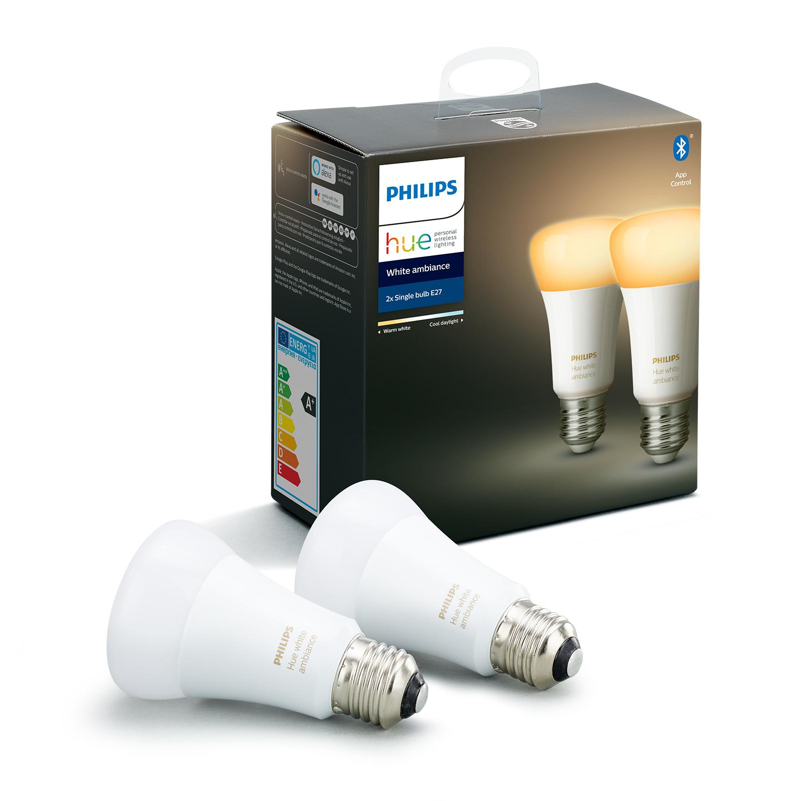 Philips Hue White Ambiance E27 8,5W, set da 2
