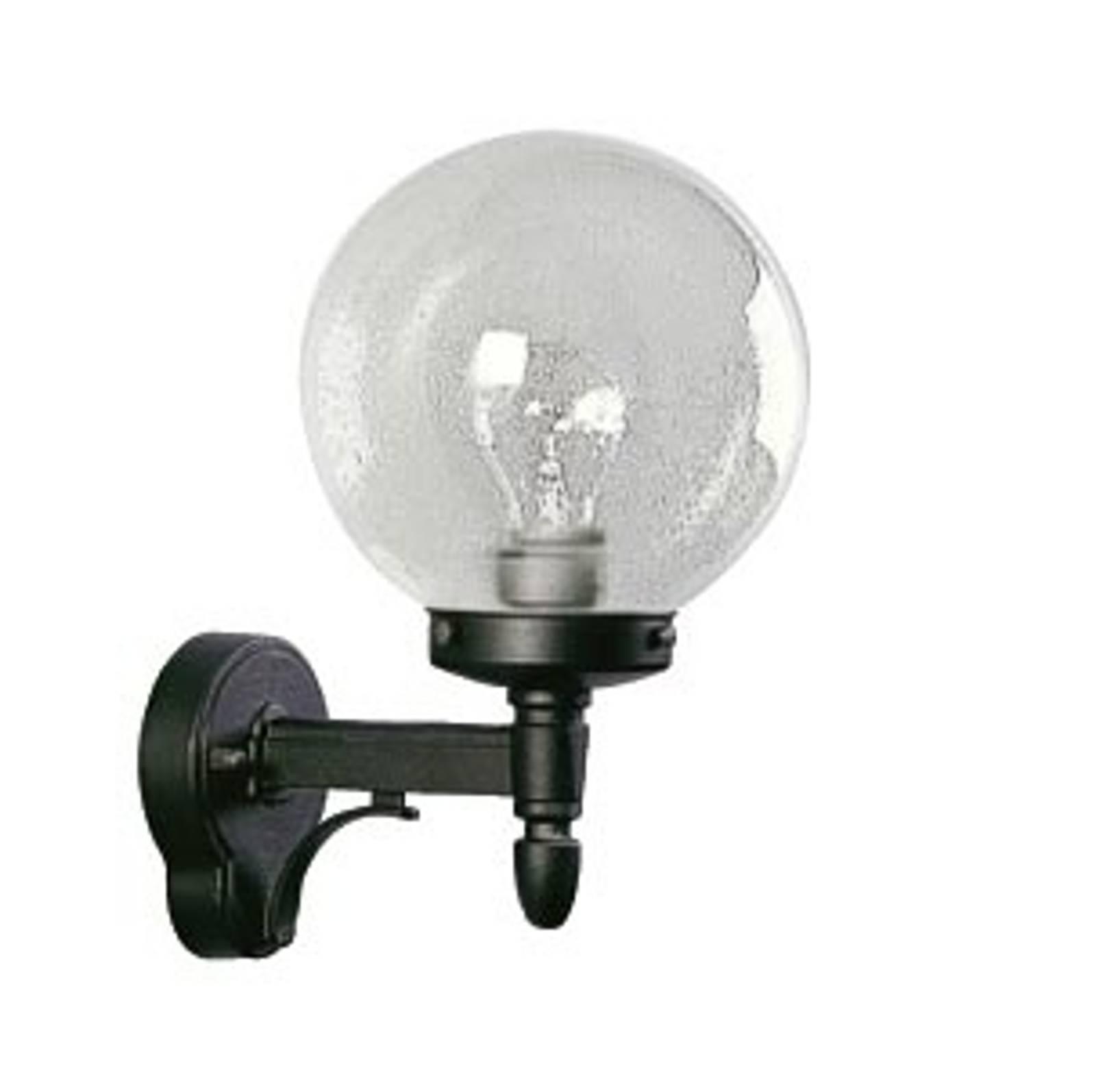 Buitenwandlamp 20 zwart met bubbelglas