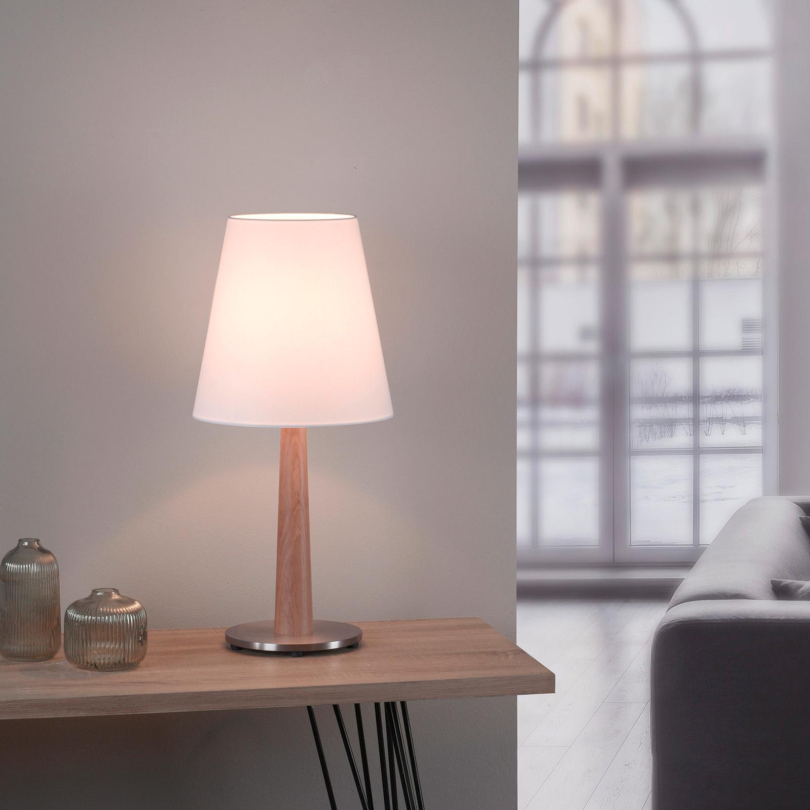 Lucande Elif tafellamp wit, conisch eiken naturel