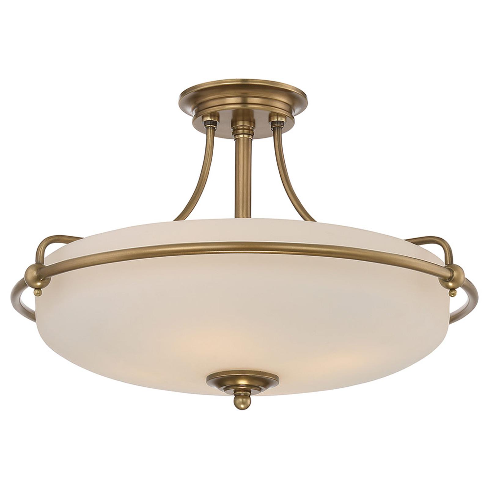 Lampa sufitowa Griffin z dystansem, mosiądz, Ø53cm