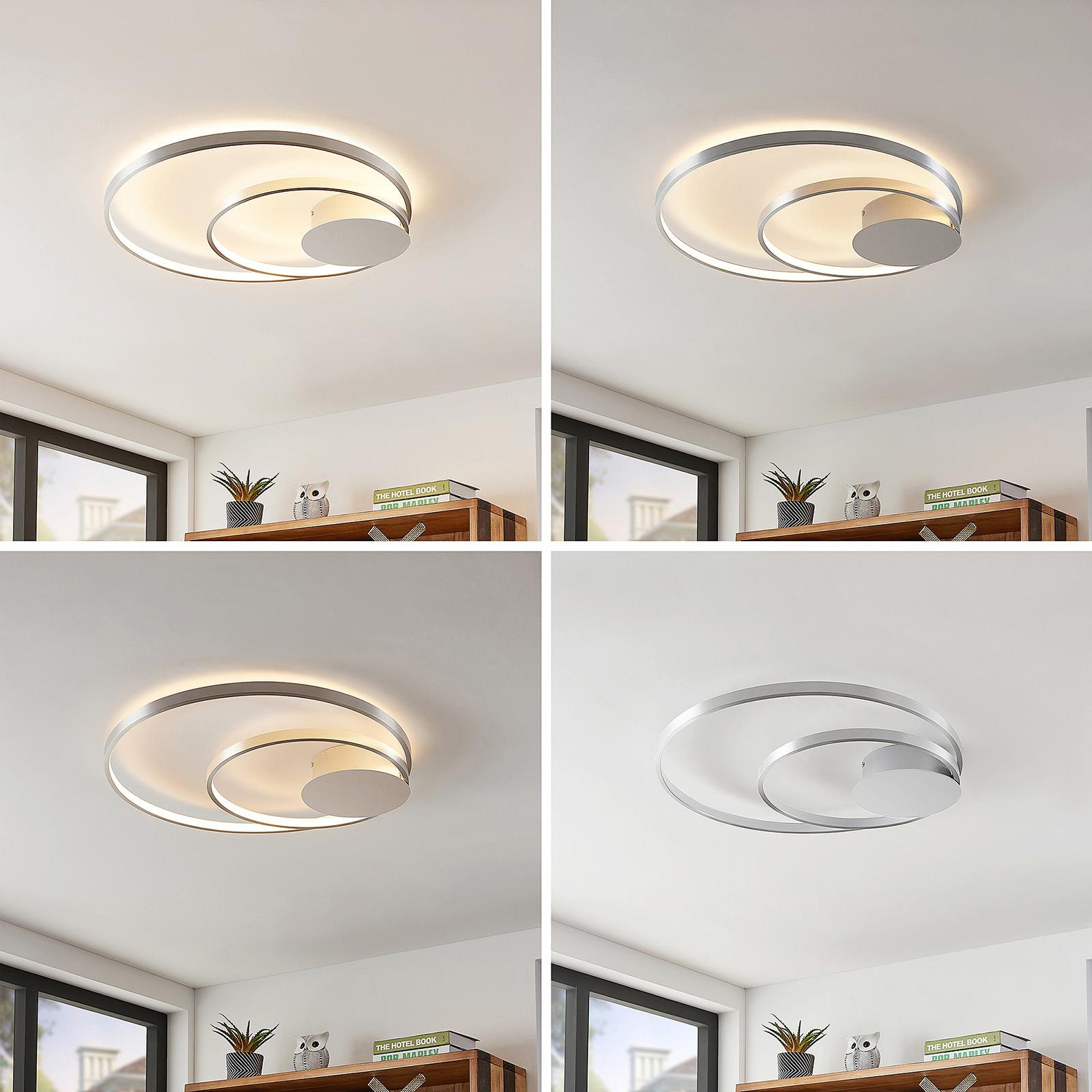 Lindby Nerwin LED-Deckenleuchte, rund, alu/chrom