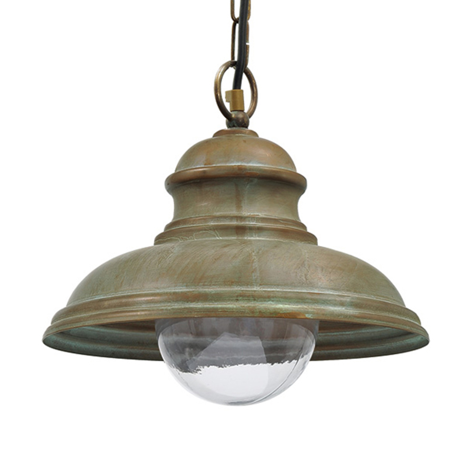 Lampa wisząca Riccardo, łańcuch, szkło półkula