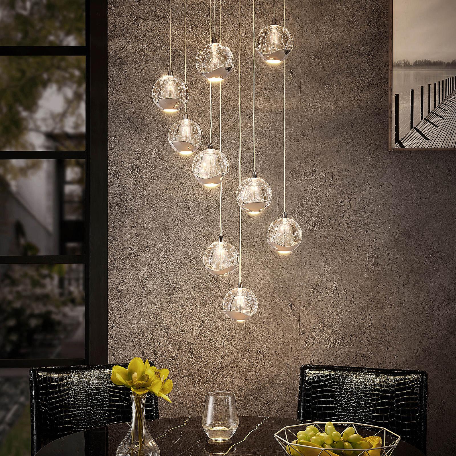 Lucande Hayley LED sospensione, 9 luci, cromo
