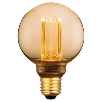 LED MiniGlobe E27 5W, varmhvit, 3-trinns dim, gull