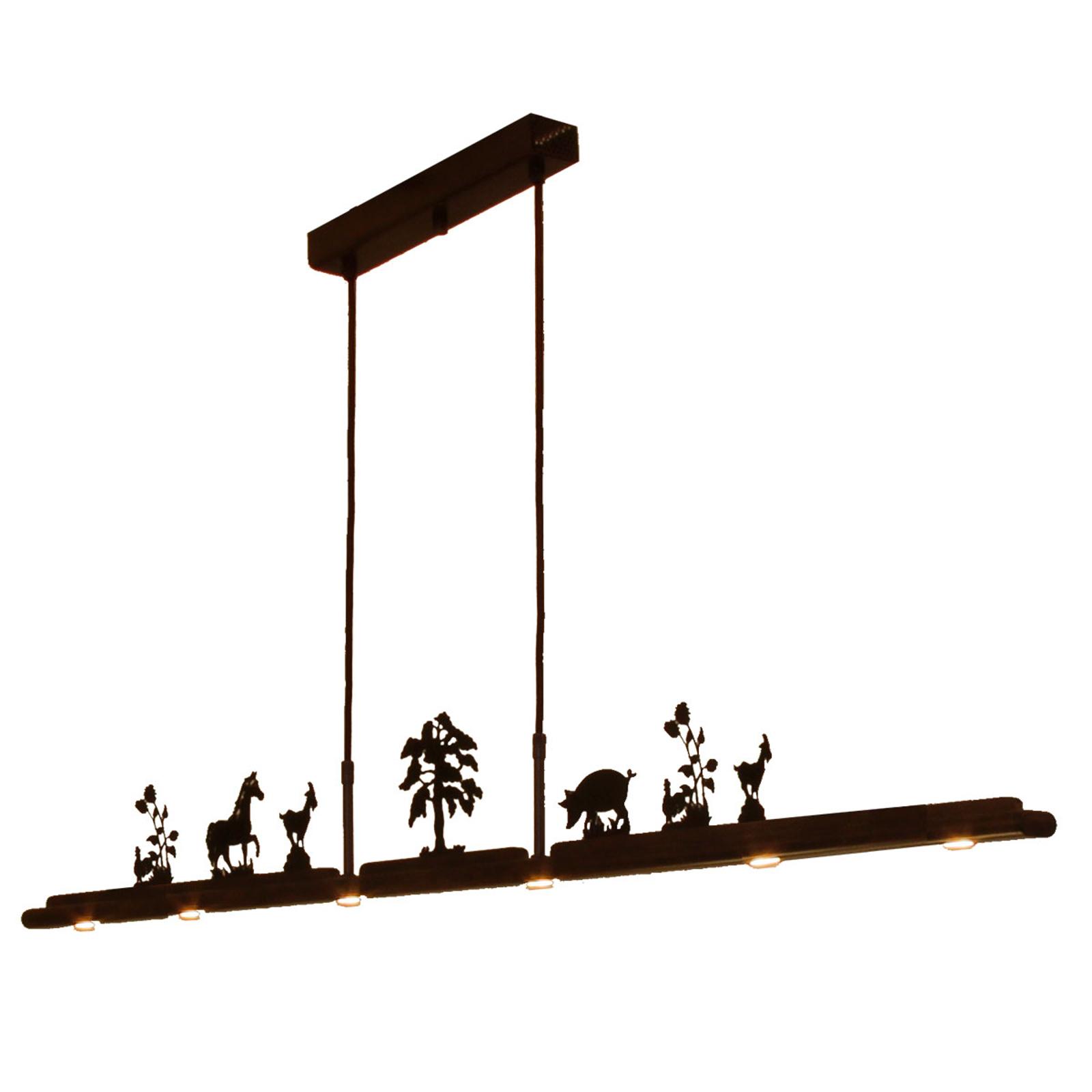 Menzel Anteo LED-hængelampe, 7 bondegårdsmotiver