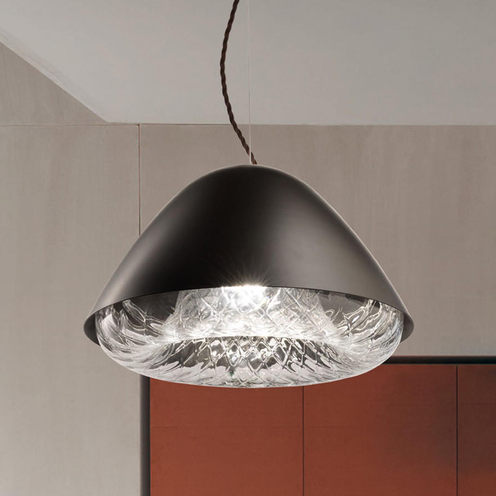 Hanglamp Kira SP P E27 m. kristalglas zwart