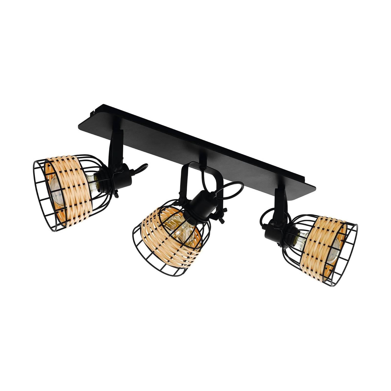 Spot soffitto Anwick 1 con decoro rattan, 3 luci