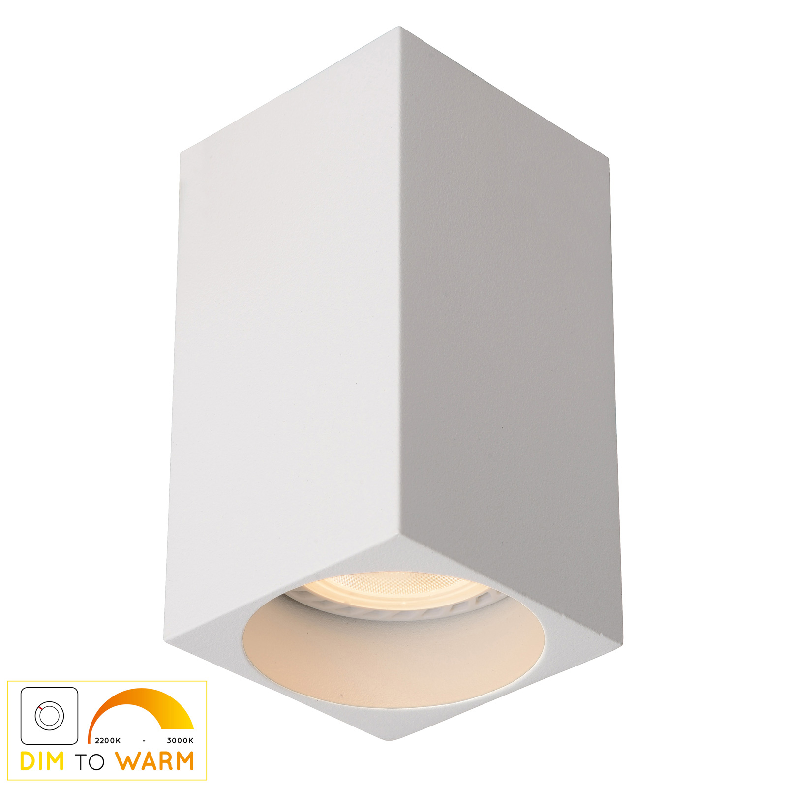 Billede af Delto LED-loftlampe, dim to warm, kantet, hvid