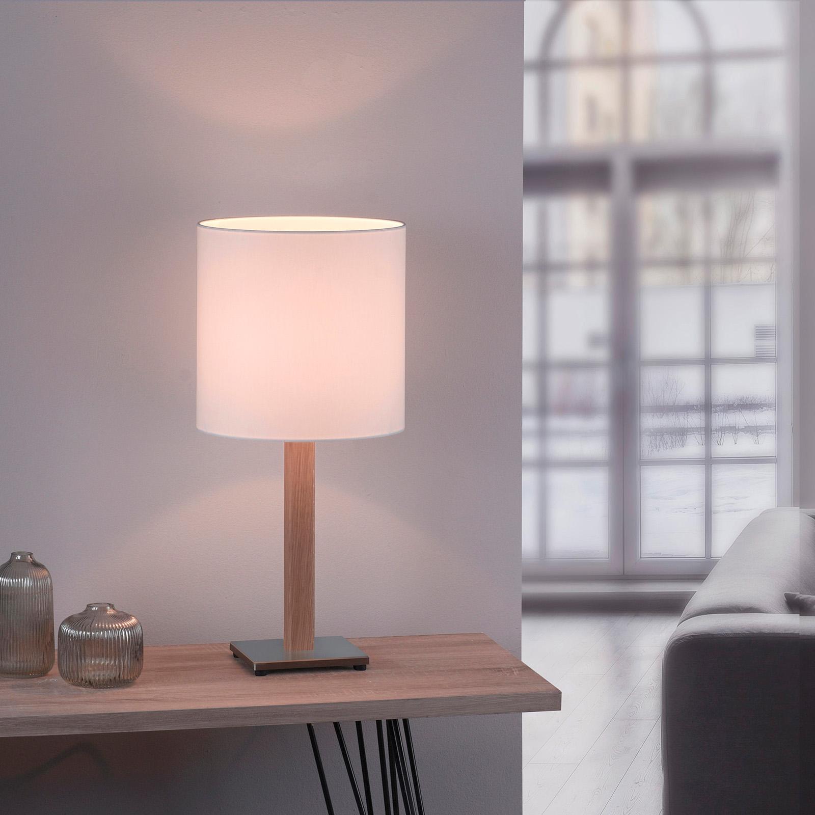 Lucande Elif Tischlampe weiß, eckig Eiche natur