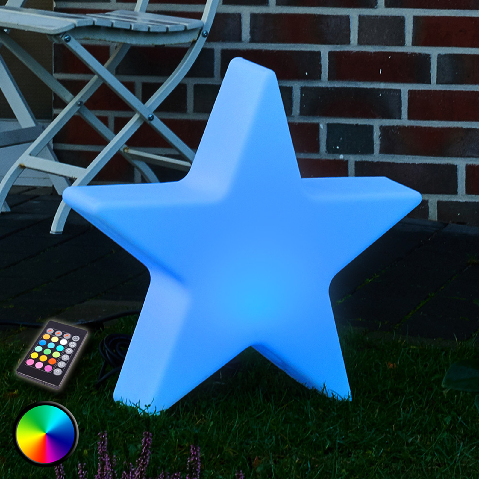 LED-dekorlampe Shining Star med RBG-LED, 40 cm