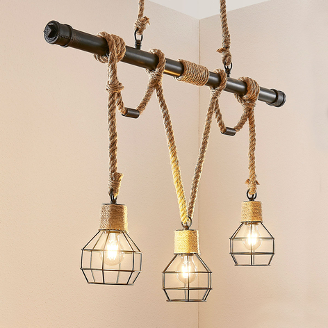 Balkvormige vintage hanglamp Ventura met 3 lampen
