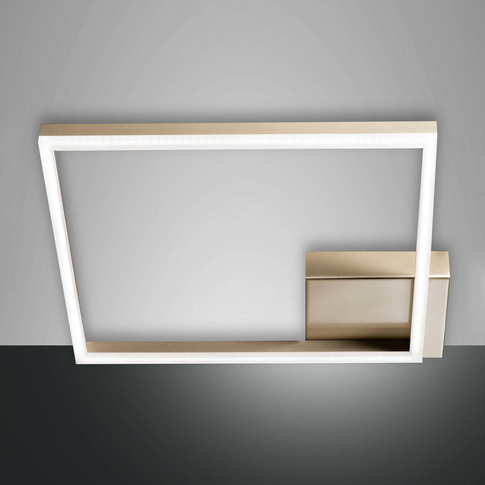 LED-Deckenleuchte Bard, 42x42cm, Mattgold-Finish