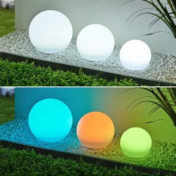 Lindby Lago LED-solcellelamper RGBW, 3 stk. kugler
