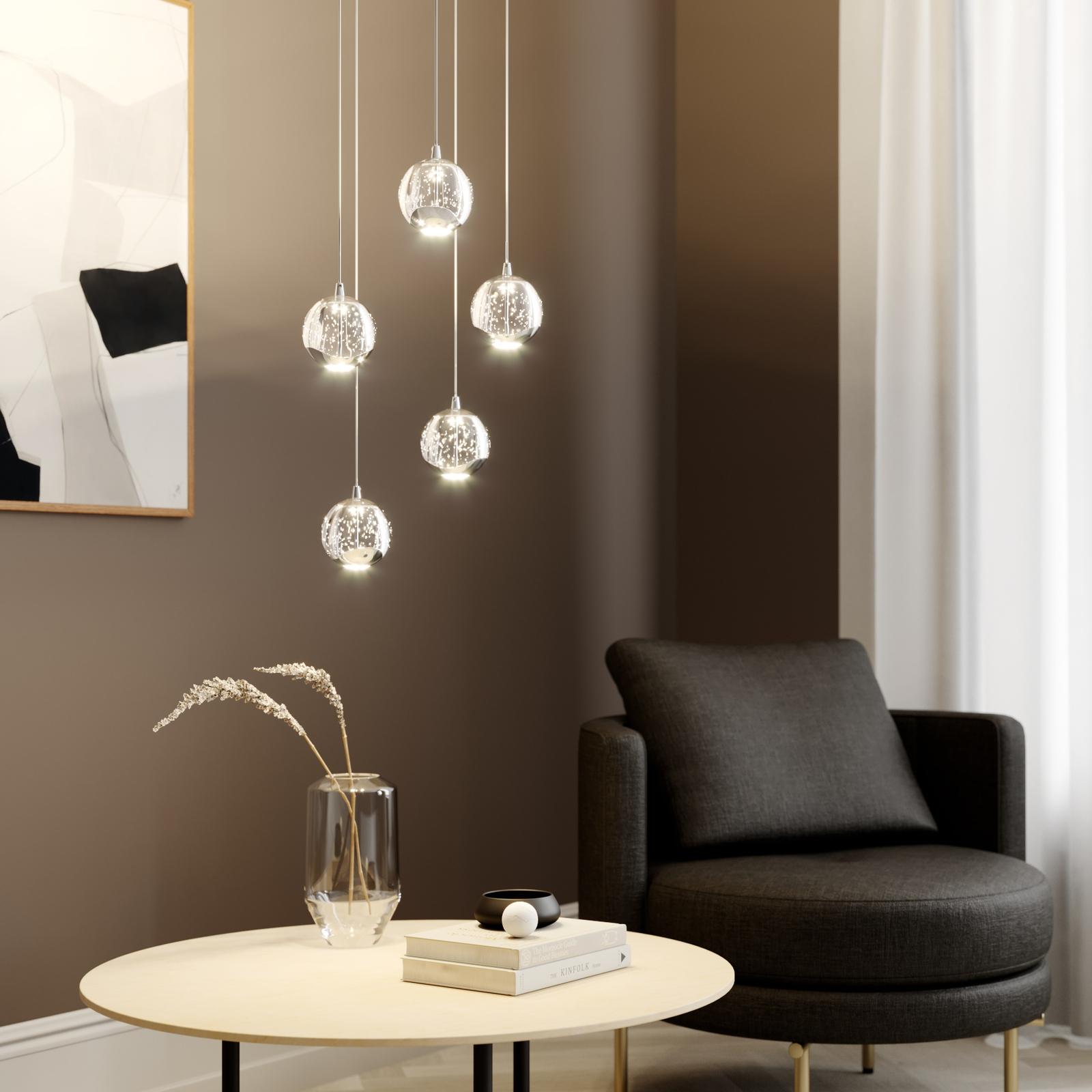 LED-pendellampe Hayley, 5 lyskilder, rund, krom