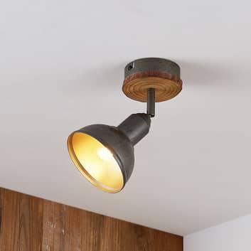 Lindby Nesrin foco de techo, disco madera, 1 luz