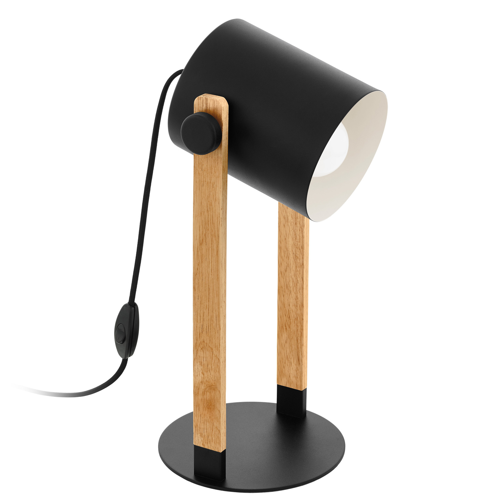 Lampa stołowa Hornwood z detalami drewnianymi