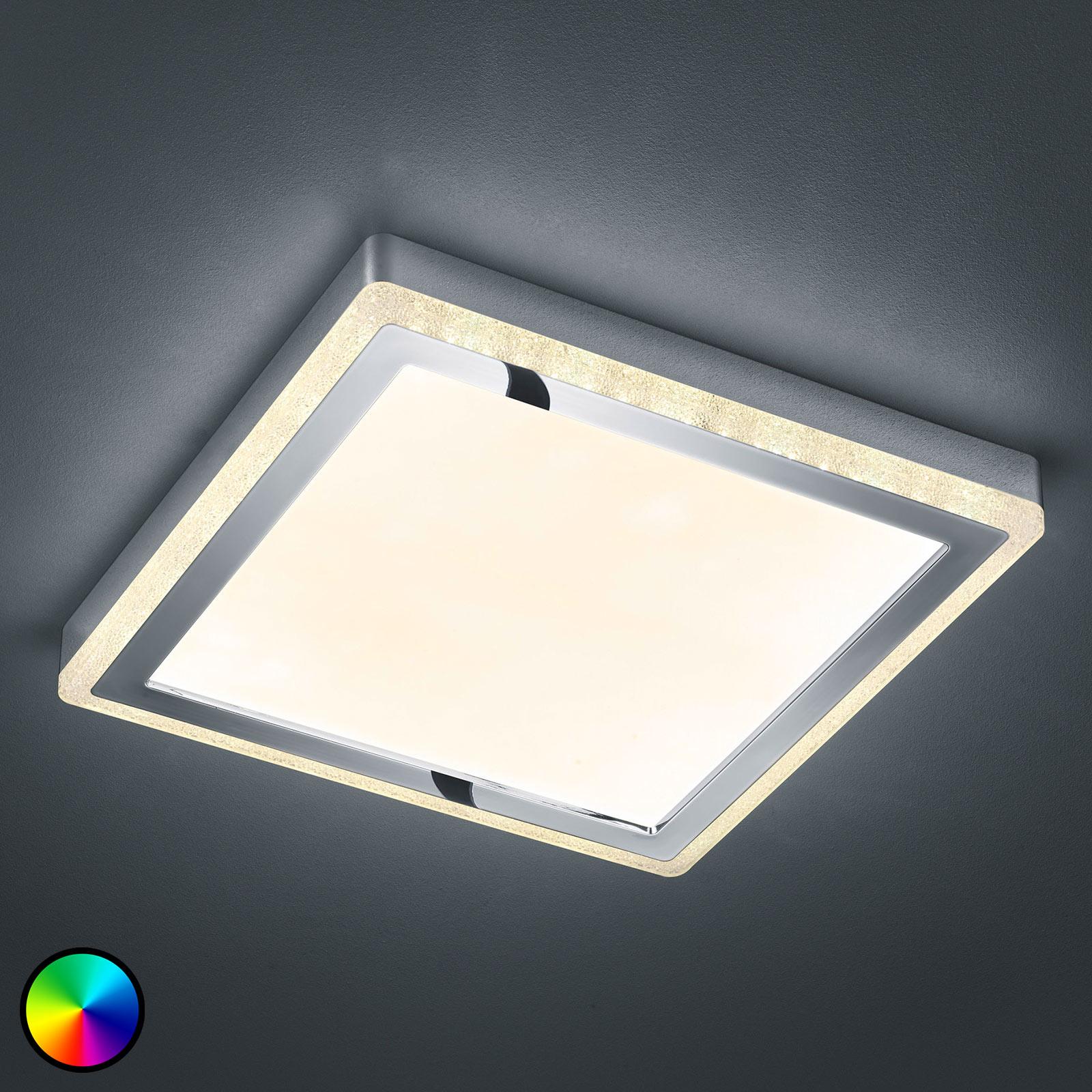 LED-taklampe Slide, hvit, kantet 40x40 cm