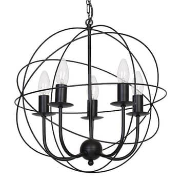Kronleuchter Globe fünfflammig schwarz