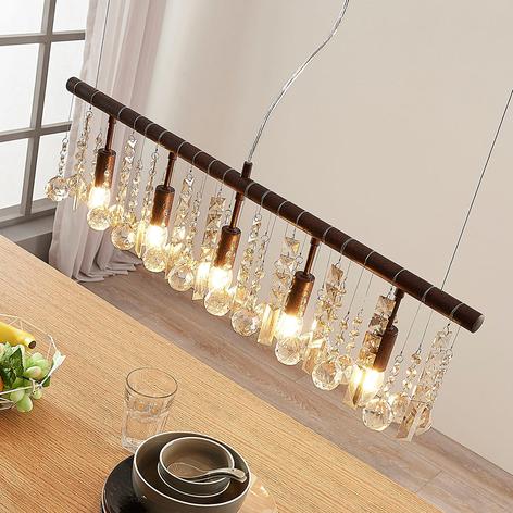 Rustfarvet krystal-hængelampe Matei, 5 lyskilder