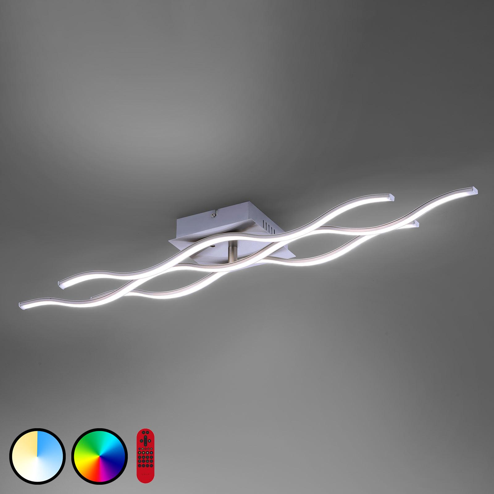 Plafonnier LED LOLAsmart Wave à 3 lampes acier