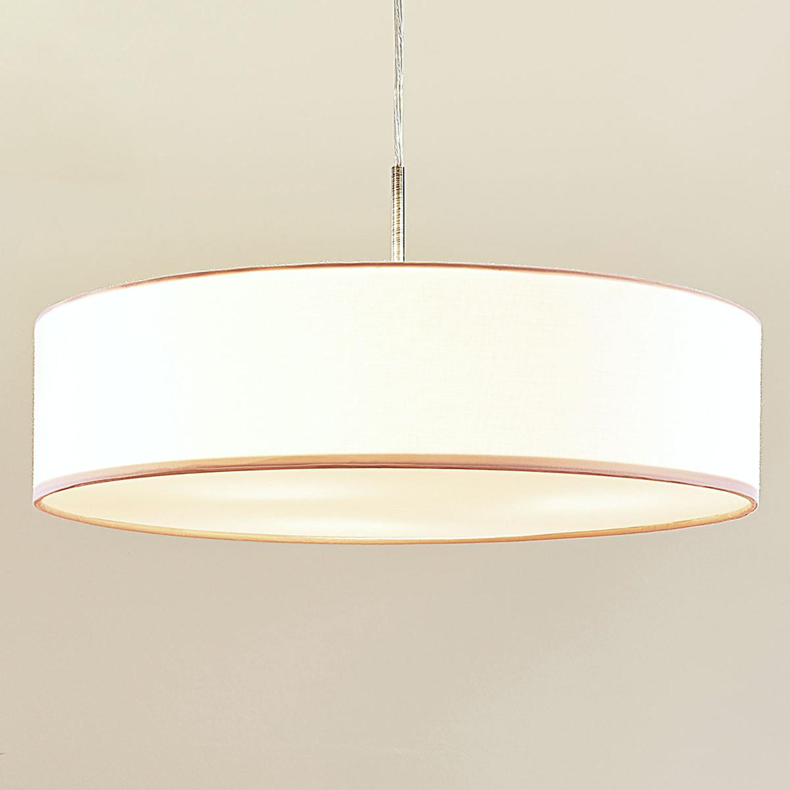Biała lampa wisząca LED SEBATIN z materiału