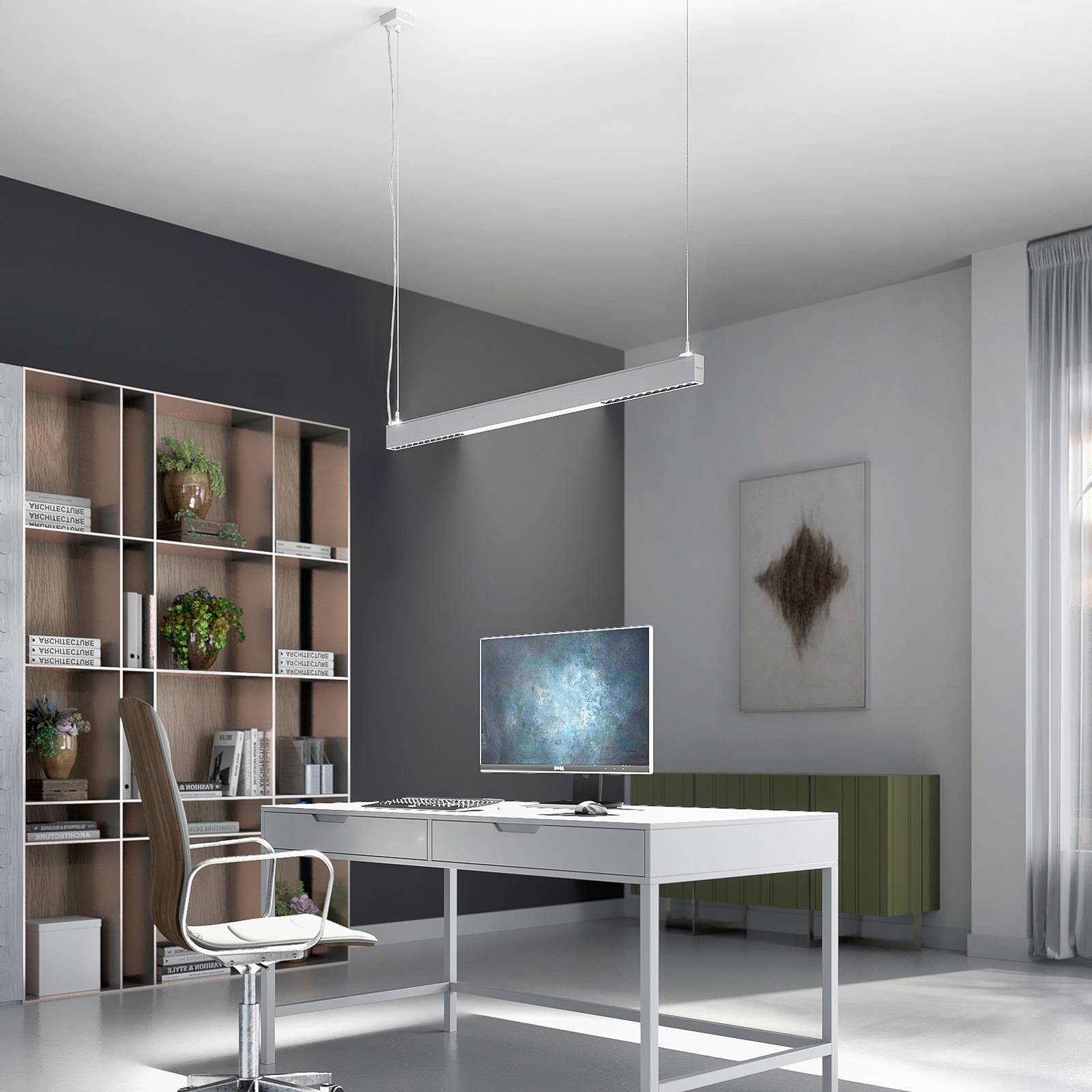 Arcchio Ingura suspension LED de bureau, blanche