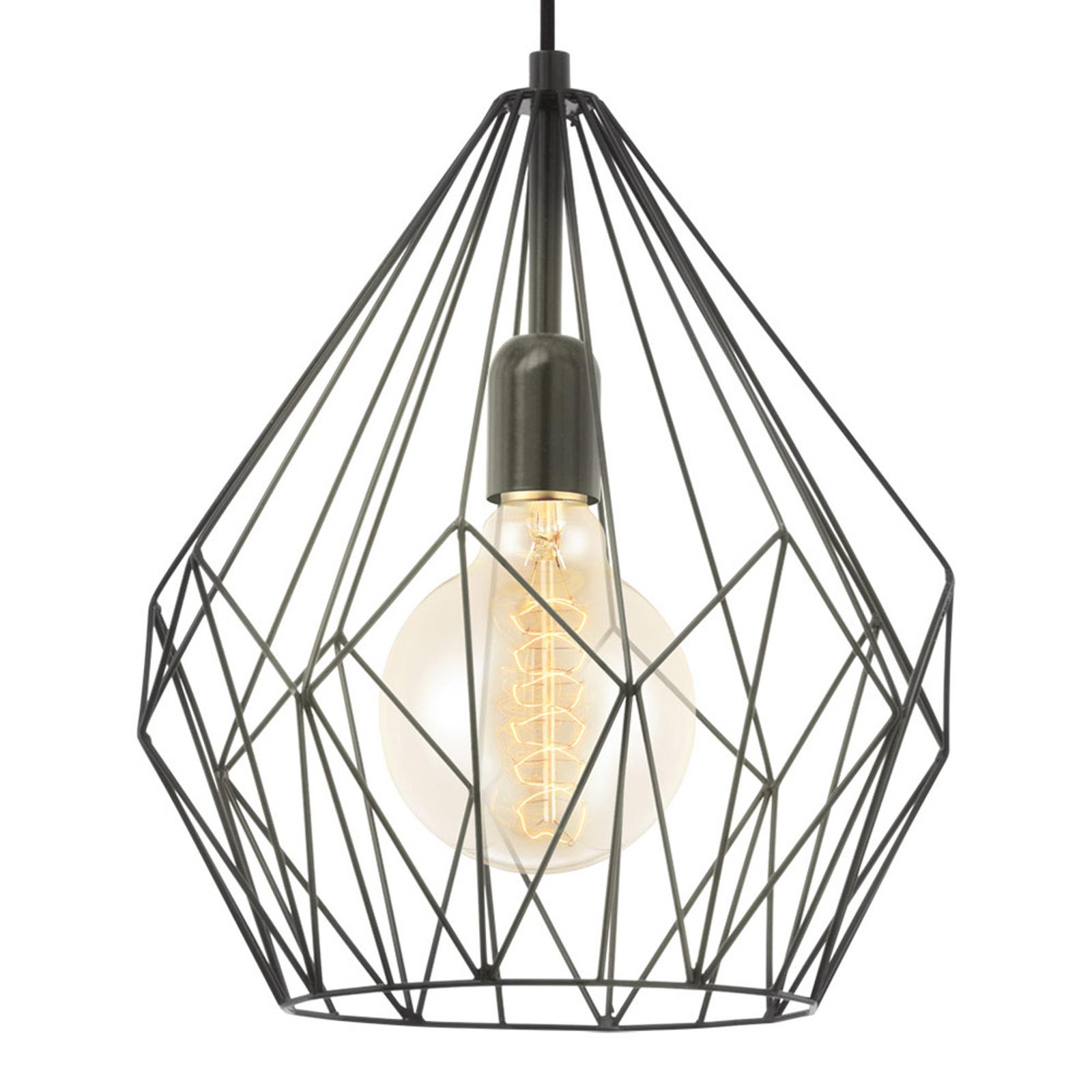 Lámpara colgante Carlton en diseño de jaula, negro
