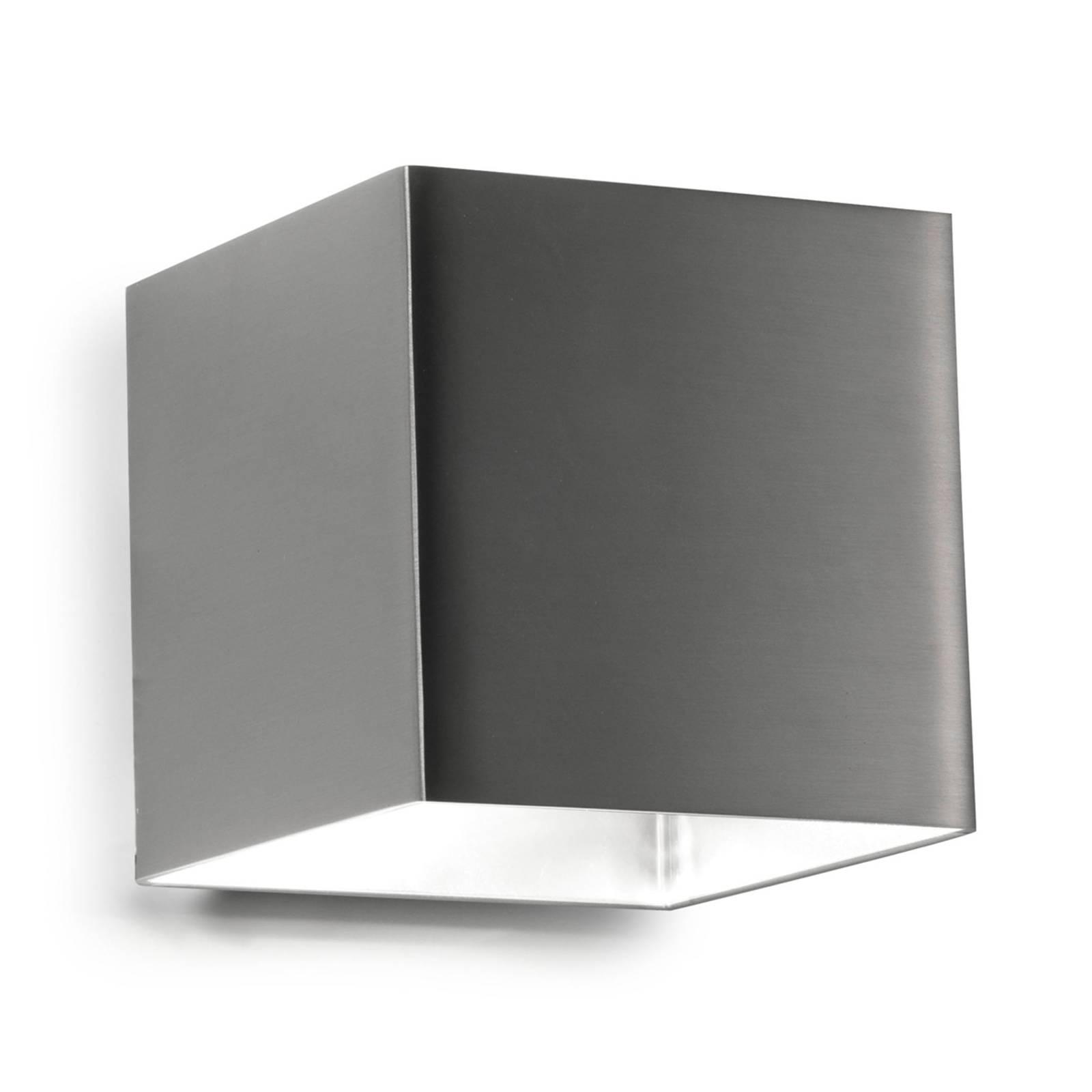 Vierkante LED-wandlamp Basic, nikkel