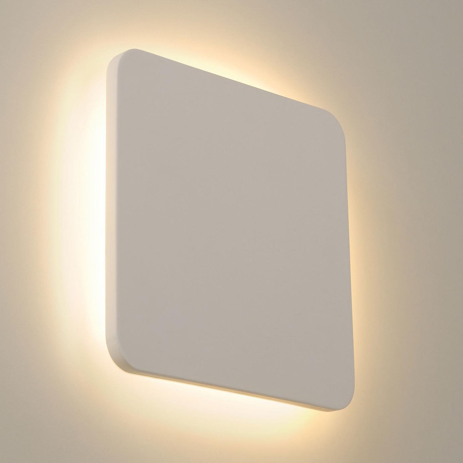 SLV Plastra LED wandlamp van gips hoekig 30x30cm