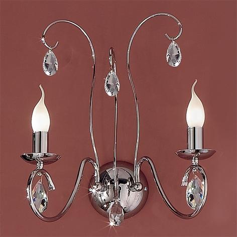 Graciøs væglampe Fioretto med to lyskilder, i krom