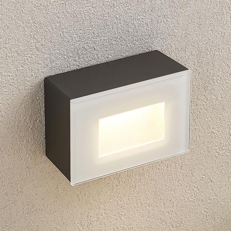Jody utendørs LED-vegglampe, 12 cm, kantet