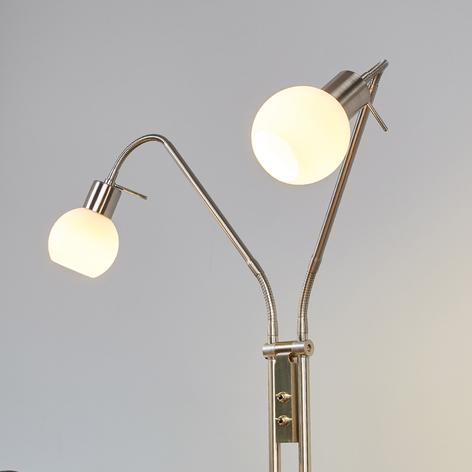 Stojací LED lampa Elaina, 2bodová, nikl matný