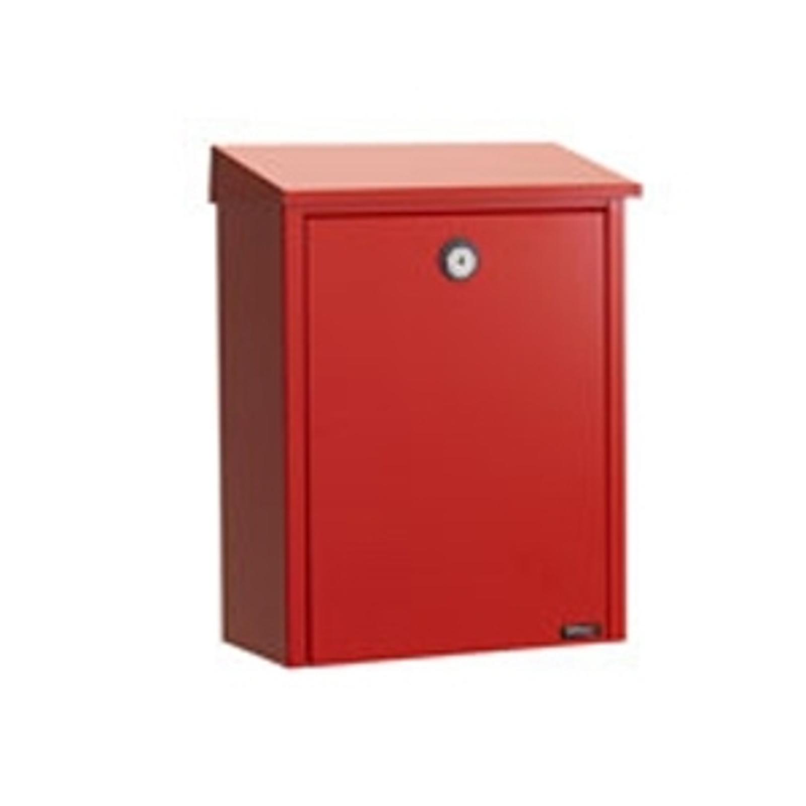 Enkel postlåda av stålplåt, röd