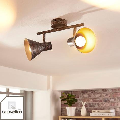 Lámpara LED de techo Zera en negro-dorado, easydim
